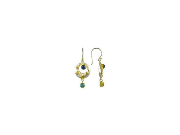 SS/Gold Earrings - Michou  Lady's Sterling Silver/22 Karat Gold Vermeil Dangle Earrings With Two Round Blue Agate Stones and Two Round Baby Blue Topaz Stones with Shepard Hooks.