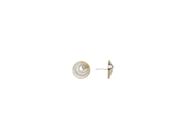 SS/Gold Earrings - Michou Sterling Silver with 22kt Gold Vermeil earrings With 2= Round Pearls