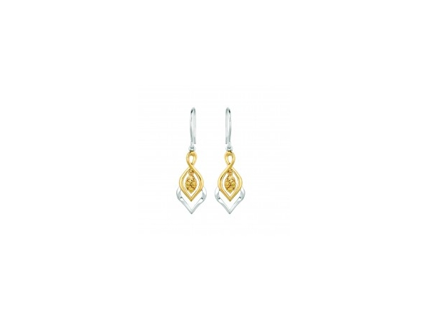 SS/Gold Earrings - Sterling Silver and 14kt Yellow Gold Overlay Drop Earrings With 6=0.03Tw Round Citris Diamonds