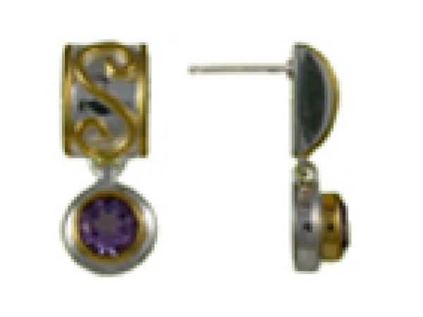 SS/Gold Earrings - Michou Sterling silver/ 22/ Karat Yellow Vermeil Dangle Earrings With Two Round Amethyst Stones