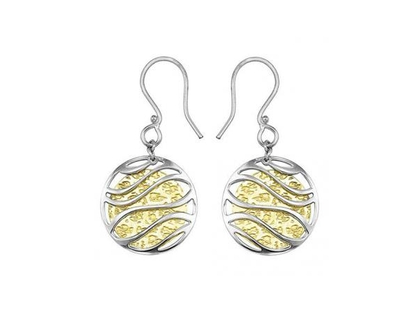 SS/Gold Earrings - Lady's Two Tone Sterling Silver Dangle Earrings With Gold Overlay