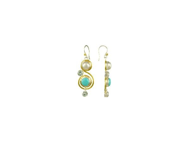 SS/Gold Earrings - Lady's Sterling Silver /22 Karat Gold Vermeil Dangle Earrings With  2= Fresh Water Pearls, 4= Round Blue Topazs And 2 = Round Turquoise Stones