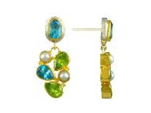 SS/Gold Earrings - Sterling Silver /22 Karat Gold Vermeil Dangle Earrings With 4= Pear Shape  Peridots, 4= Various Shapes Blue Topazs , and 4= Fresh Water Pearls.