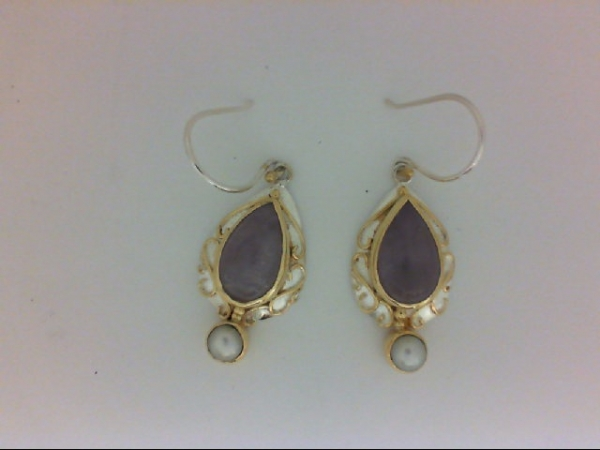 SS/Gold Earrings - Michou Lady's Silver/22K Vermeil Earrings  With 2= Pear Amethysts Cape Lavender And 2= Mabe' Pearls Style: Dangle Metal: Sterling Silver Color: Two Tone Finish: Engraved