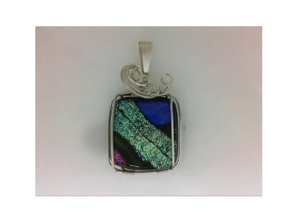 - Ladies SS wire-wrapped dichroic glass pendant