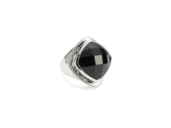 Ring - ELLE Sterling Silver Contemporary Ring Size 8 With One 17mm Cushion Cut Black Agate And One Round African Ruby