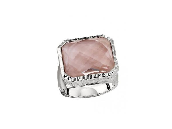 Ring - ELLE White Sterling Silver with Rhodium Contemporary Ring Size 7 With One 17X14mm Retangular Cushion Mother Of Pearl with checkerboard cut crystal top and one round African Ruby