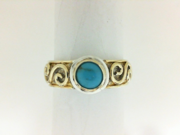 Ring - Michou Two Tone Sterling Silver/22K Vermeil Solitaire Ring Size 7 With One Round Turquoise