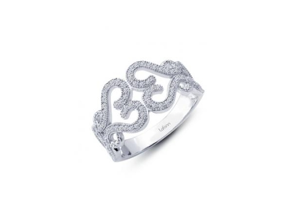 Ring - Lady's Sterling Silver Bonded With Platinum Band  With Heart Shapes 94=0.94Tw Round Simulated Diamonds Size 7
