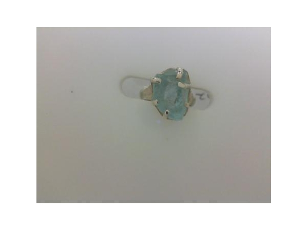 Ring - White Sterling Silver Free Form Ring Size 8 with Aquamarine Rough 10.1 cts