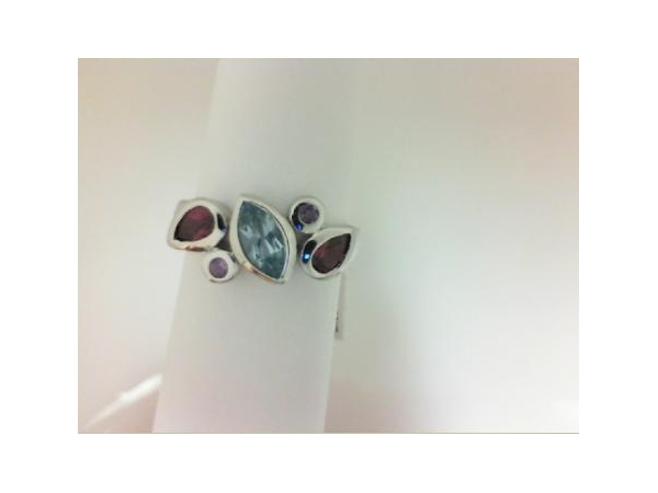 Ring - Sterling Silver multicolor 5 stone ring size 7