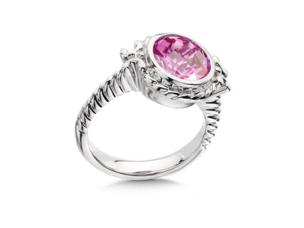 Ring - White Sterling Silver Fashion Ring With One Round Created Pink Sapphire Stone Size 7