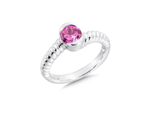 Ring - White Sterling Silver Ring With One Round Created Pink Sapphire Size 7