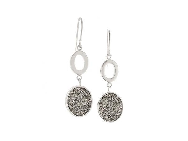 Earrings - Frederic Duclos E396 Lady's Sterling Silver White Lightning Drusy Oval Dangle Earrings With Shepard's Hook