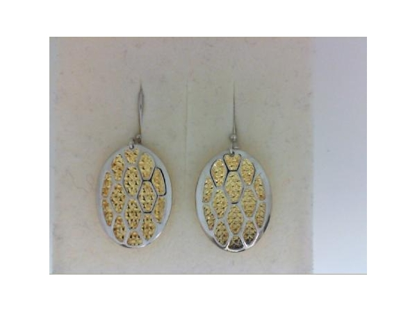 Earrings - Lady's Two Tone Sterling Silver With Gold Overlay Dangle Earrings