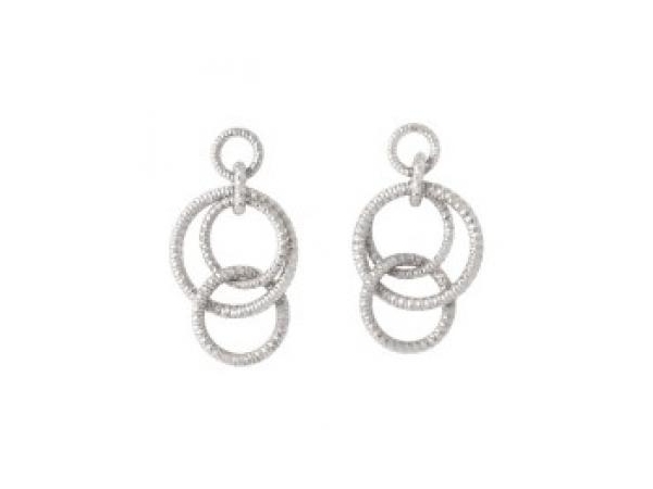 Earrings - Lady's White Sterling Silver Triple Circle Dangle Earrings With Post
