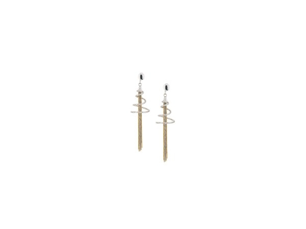 Earrings - Lady's Sterling Silver With Gold Plated Spiral Tassel Earrings