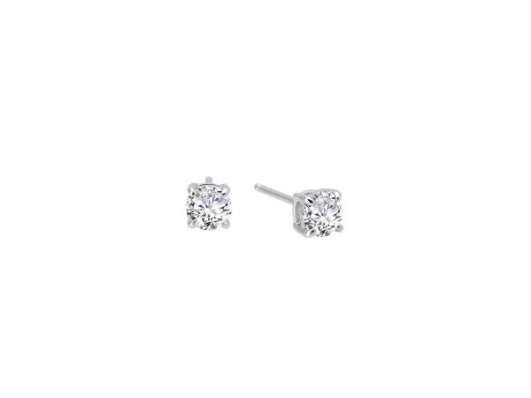 Silver Earrings with Stones - Lady's Silver bonded with Platinum Stud Earrings With 2= Round Simulated Diamonds = 2.00 ctw