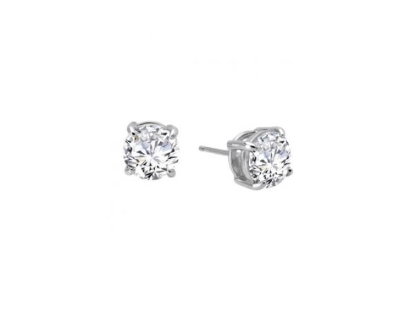 Silver Earrings with Stones - Lady's Sterling  Silver Bonded With Platinum  Earrings Studs  With 2=4.00Tw Round Simulated Diamonds