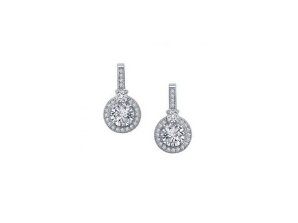 Silver Earrings with Stones - Lady's Sterling Silver  Bonded With Platinum Drop Style Earrings  With 46=2.32Tw Round Simulated Diamonds