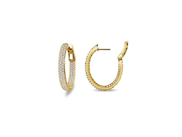 Silver Earrings with Stones - Sterling Silver bonded with yellow gold oval inside/outside hoops with 2.85 cttw of simulated diamonds