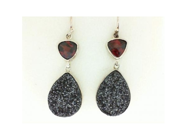 Silver Earrings with Stones - Lady's Silver Earrings With Stones Style: Dangle Metal: Sterling Silver Color: White Finish: Polished Stone: Drusy Quartz/3.6 cts Garnet