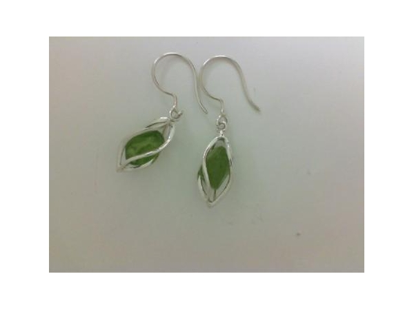 Silver Earrings with Stones - Lady's Silver Earrings With Stones Style: Dangle Metal: Sterling Silver Color: White Finish: Polished Stone: PERIDOT8.2 cts