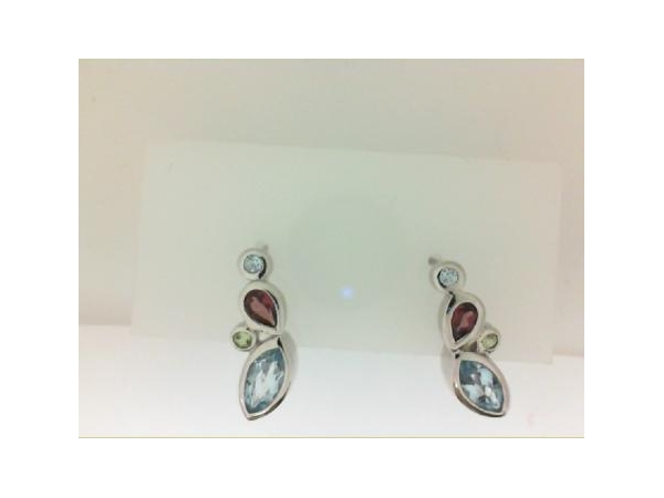 Silver Earrings with Stones - Sterling silver multi color, multi stone stud earrings