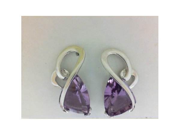 Silver Earrings with Stones - Lady's Silver Earrings With Stones With 2=2.02Tw Trillion Amethysts