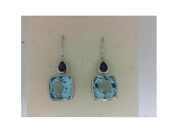 Silver Earrings with Stones - Italgem Lady's  Sterling Silver  Drop Earrings With 2 Pear Shape Iolites And 2=8.61Tw Cushion Cut Blue Topazs