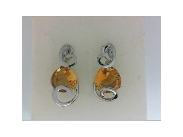 Silver Earrings with Stones - Italgem Lady's Sterling Silver Free Form Drop Earrings With 2=8.86Tw Pear  Shape Golden Citrine Stones