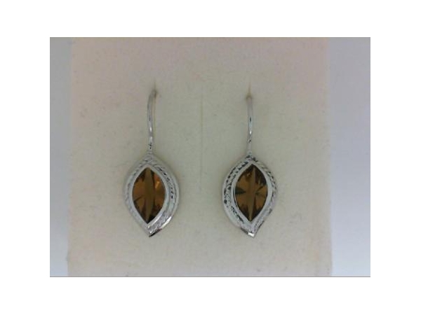 Silver Earrings with Stones - Italgem Lady's Sterling Silver  Drop Earrings  With 2=2.90Tw Marquise Shape Cognac Quartzs Stones