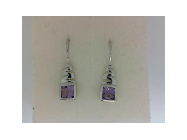 Silver Earrings with Stones - Italgem Lady's  Sterling Silver Drop Earrings  With 2= 2.10Ct Cushion Cut Amethysts Stones