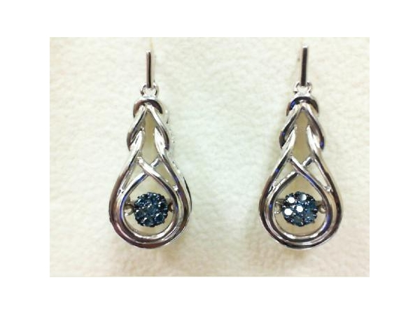 "Silver Earrings with Stones - Lady's Sterling Silver  ""Rhythm of Love"" Earrings With 14=0.16Tw Round Blue Diamonds"