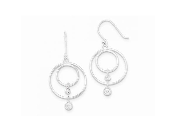 Silver Earrings with Stones - Lady's White Sterling Silver Drop Earrings With 4= Round Cubic Zirconias