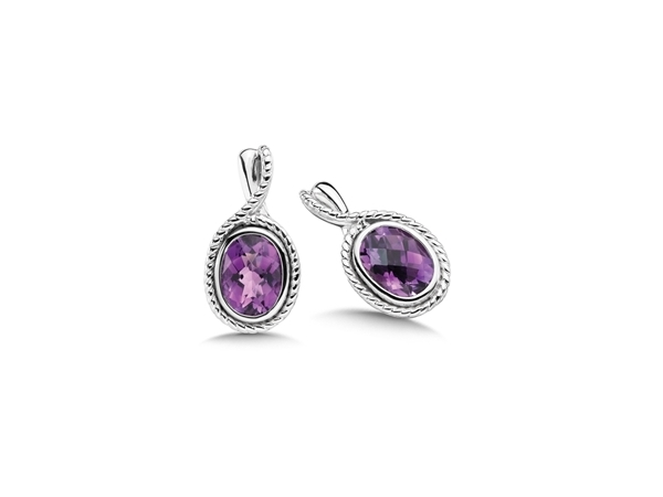 Silver Earrings with Stones - Lady's Silver Earrings With 2= Oval Amethysts