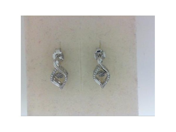 Silver Earrings with Stones - Lady's  Sterling Silver Earrings  With 22=0.07Tw Round Diamonds