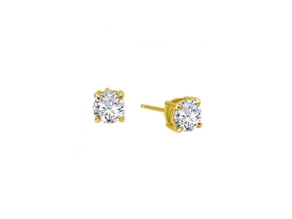 Silver Earrings with Stones - Lady's Silver bonded with Gold Stud Earrings With 2= Round Simulated Diamonds = 2.00 ctw