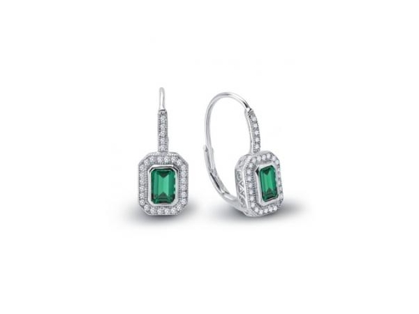 Silver Earrings with Stones - Lady's Silver Earrings bonded with Platinum With 2= Simulated Emeralds And 58= Round Simulated Diamonds = 1.58 ctw