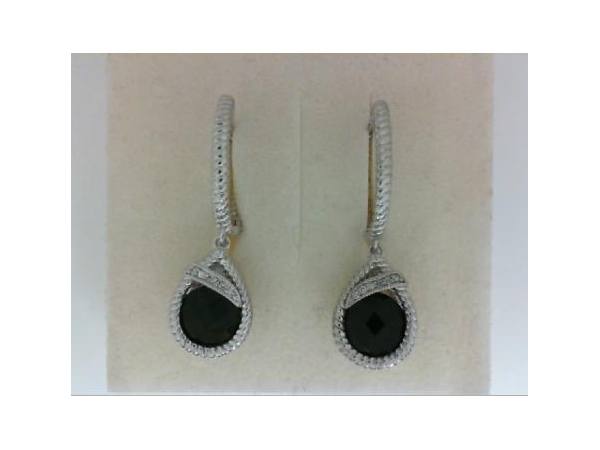 Silver Earrings with Stones - Lady's Silver Silver White Dangle  Earrings  With 2= Round Checkerboard Cut Black Onyxs And 12=0.05Tw Round Diamonds