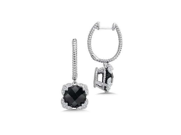 Silver Earrings with Stones - Lady's Sterling Silver Dangle Earrings With 2= Round Checkerboard Cut Black  Onyxs And 24=0.10Tw Round Diamonds