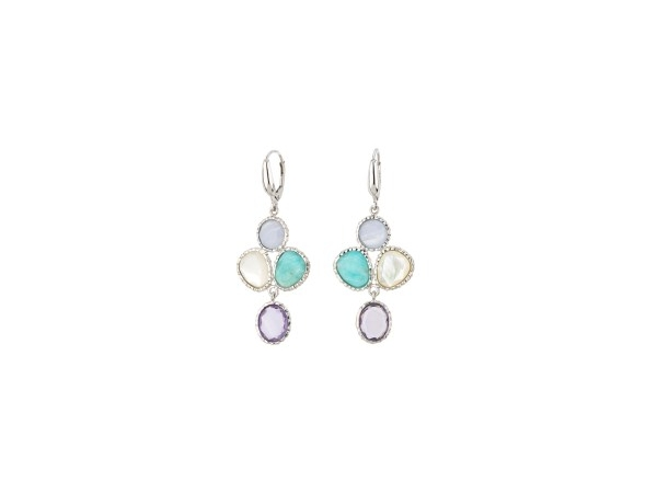 Silver Earrings with Stones - Lady's Sterling  Silver Dangle Multi-Stone Earrings With 2 Round Chalcedony Stones, 2 Round Amazonite Stones, and 2 Round Mother-Of-Pearl Stones With Leverbacks