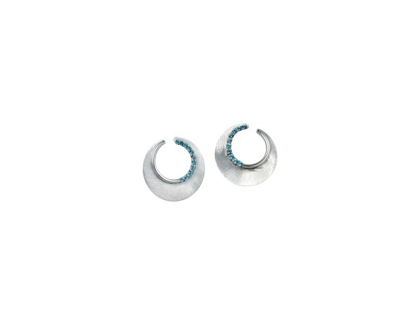 Silver Earrings with Stones - Lady's Sterling Silver Eclipse Earrings With 20= Round Blue Topazs Stones