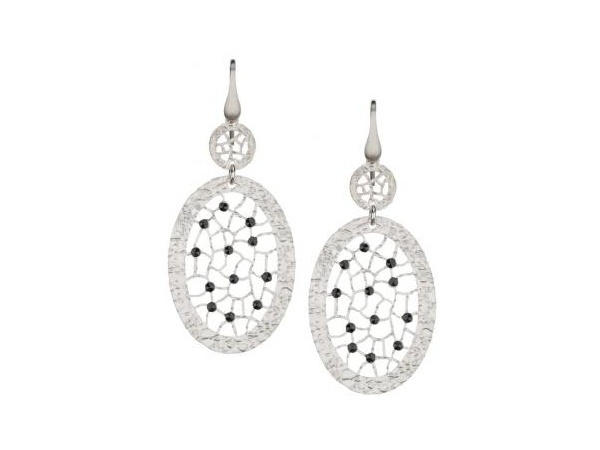 Silver Earrings with Stones - Lady's Sterling Silver Dangle Earrings  With 24= Round Black Spinels