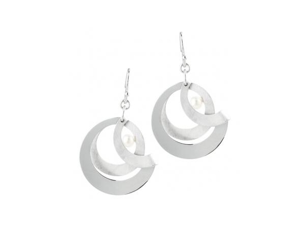 Silver Earrings with Stones - Lady's  Sterling Silver Foldover Style Earrings  With 2= Fresh Water Pearls