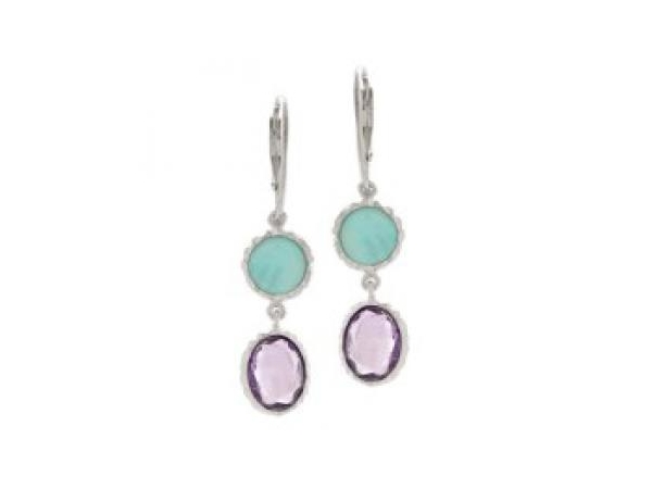 Silver Earrings with Stones - Lady's  Sterling Silver Dangle Earrings  With 2 Amazonite Checkerboard Cut Stones and , 2 Amethyst  Checkerboard Cut Stones