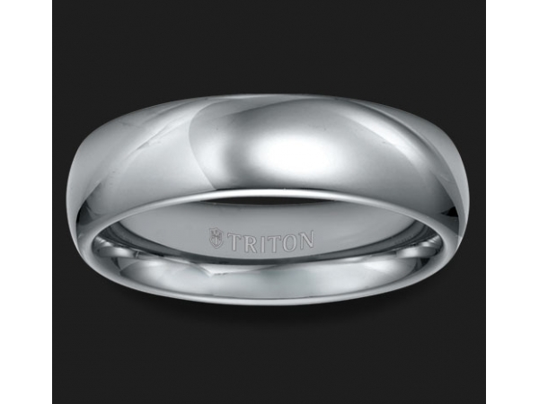 Tungsten Carbide - TRITON 11-2134C 6mm Grey Tungsten Carbide High Polished  Domed Band, Size 10