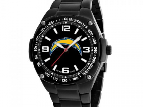 Gent's Watch - NFL SAN DIEGO CHARGERS, Men's Gladiator Watch, Officially Licensed Logo and Colors. Japan Quartz Movement. Black ionic plating. Solid stainless steel case and bracelet. Water resistant to 3 ATM (99 ft.). Limited lifetime warranty.