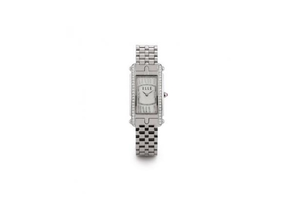 Ladies Watch - ELLE WATCH LADY'S STAINLESS STEEL BRACELET WATCH WITH RECTANGLE WHITE MOP DIAL AND SWAROVSKI CRYSTAL BEZEL