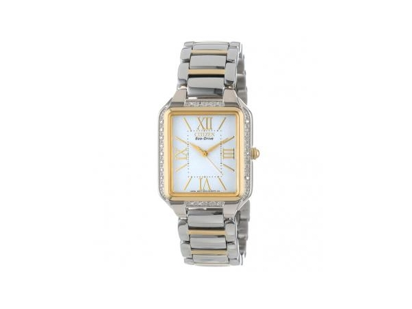 Ladies Watch - CITIZEN ECO-DRIVE, CIENA / Model: EM0194-51A, Sophisticated modern styling is the hallmark of this classically inspired feminine collection with a timeless cushion case in stainless steel two tone with 26 brilliant diamonds. WATCH FEATURES Movement~09 Eco-Drive E031 Functions~09 3 Hand Band~09 Two Tone Stainless Steel Bracelet, Deployment Clasp with Push Button Case Size~09 29 x 33mm Case Material~09 Two Tone Stainless Steel, Diamonds Dial~09 White Crystal~09 Mineral Crystal Water-Resistance~09